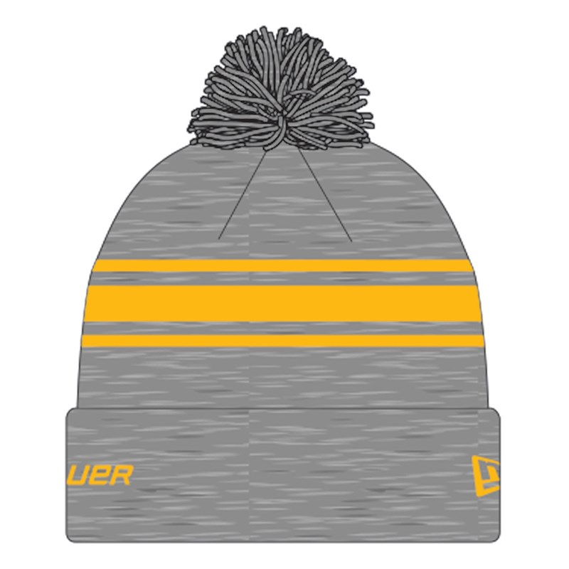 Изображение Вязаная шерстяная шапка Bauer New Era Striped Pom Pom - grey/gold Sr (взрослый)