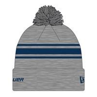 Изображение Вязаная шерстяная шапка Bauer New Era Striped Pom Pom - grey/navy Sr (взрослый)